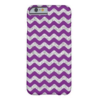 Elegant Purple Silver Glitter Zigzag Chevron Barely There iPhone 6 Case