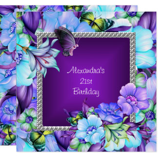 Elegant Purple Silver Jewel Flowers 21st Birthday Card
