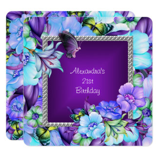 Elegant Purple Silver Jewel Flowers 21st Birthday Card
