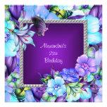 Elegant Purple Silver Jewel Flowers 21st Birthday Custom Invite