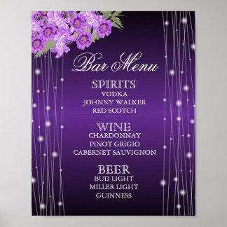 Elegant Purple String Lights Floral  - Bar Menu Poster