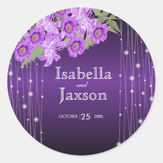 Elegant Purple String Lights Floral Wedding Classic Round Sticker