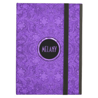 Elegant Purple Suede Leather Look Floral Design 2 Case For iPad Air