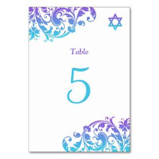 Elegant Purple Teal Flourish Bat Mitzvah Card