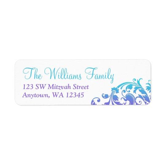 Elegant Purple Teal Flourish Bat Mitzvah Return Address Label