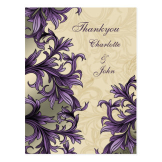 Elegant purple Thank You Cards Postcard