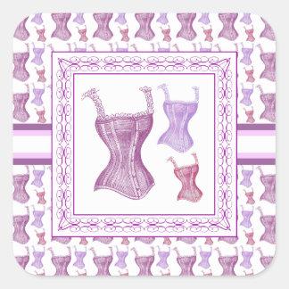 Elegant Purple Victorian Corsets with Lace Straps Square Sticker