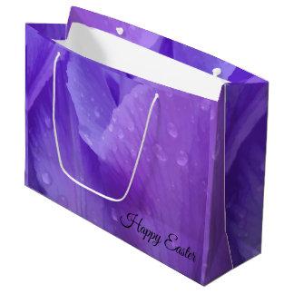 Elegant Purple Watercolor Tulip Photograph Easter Large Gift Bag