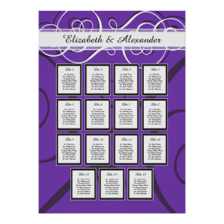 Elegant Purple Wedding 15 Table Seating Chart Posters