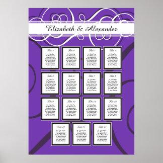 Elegant Purple Wedding 15 Table Seating Chart Poster