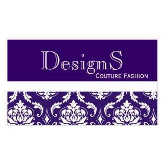 Elegant Purple White Damask Fashion Business Card