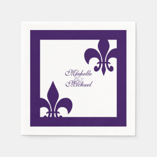 Elegant Purple White Fleur de Lis Wedding Paper Napkin