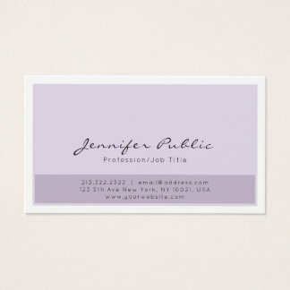 Elegant Purple White Simple Professional Modern Business Card