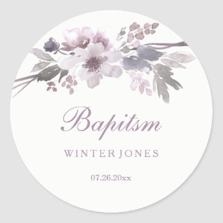 Elegant Purple Winter Floral Baptism Sticker
