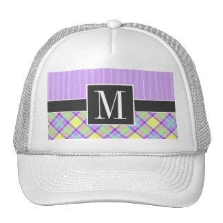 Elegant Purple & Yellow Plaid Mesh Hats