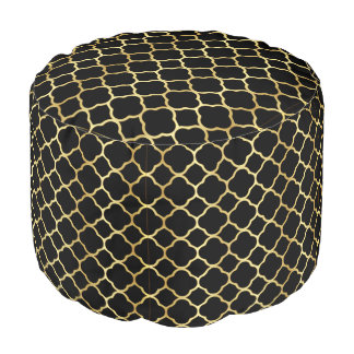Elegant Quatrefoil Gold & Black Pattern Pouf
