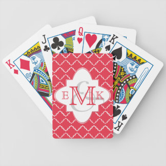 Elegant Quatrefoil Monogram - Red White Bicycle Playing Cards