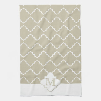 Elegant Quatrefoil Pattern - Latte White Tea Towel