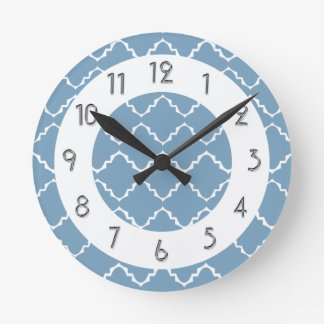 Elegant Quatrefoil Pattern - Lt Blue White Round Clock