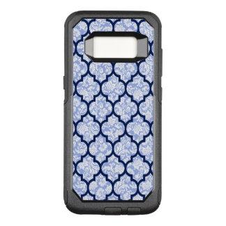 Elegant Quatrefoil Pattern & Powder Blue Damasks OtterBox Commuter Samsung Galaxy S8 Case