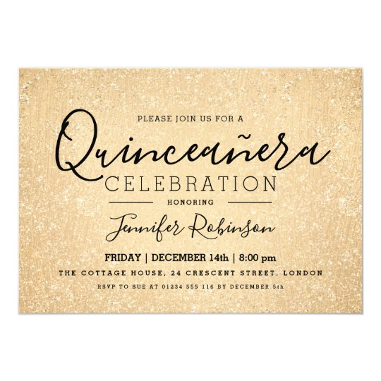 Elegant Quinceanera Party Gold Glitter Look Paint Card