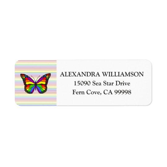 Elegant Rainbow Butterfly Pinstripe White Return Address Label