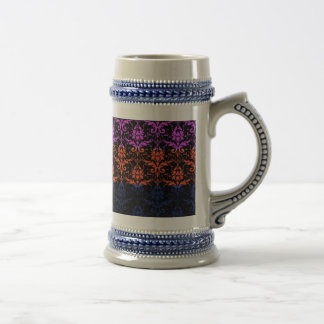 Elegant Rainbow Colorful Damask Fading Colors Beer Stein