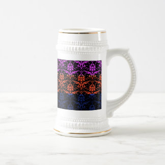 Elegant Rainbow Colorful Damask Fading Colors Beer Steins
