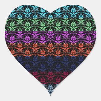 Elegant Rainbow Colorful Damask Fading Colors Sticker