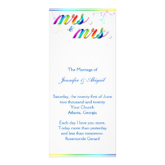 Elegant Rainbow Floral Gay Wedding Program Rack Card