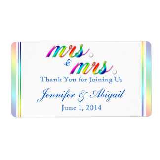 Elegant Rainbow Floral Wedding Water Bottle Label Shipping Label