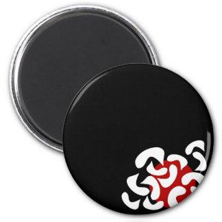Elegant red abstraction 6 cm round magnet