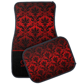 Elegant Red and Black Damask Monogram Car Mats