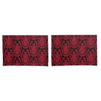 Elegant Red and Black Damask Print Pillowcase