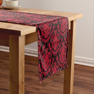 Elegant Red and Black Damask Print Short Table Runner