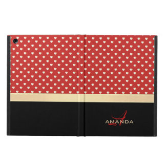Elegant Red and Black, Golden Hearts Name Monogram iPad Air Case