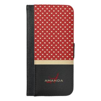 Elegant Red and Black, Golden Hearts Name Monogram iPhone 6/6s Plus Wallet Case