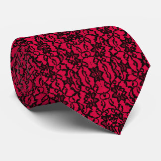 Elegant Red and Black Lace Tie