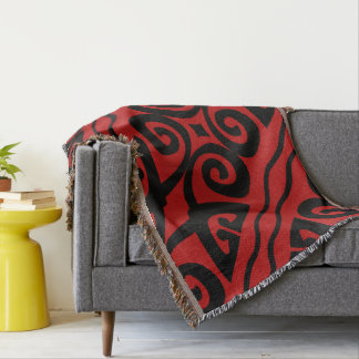 Elegant Red And Black Modern Throw Blanket