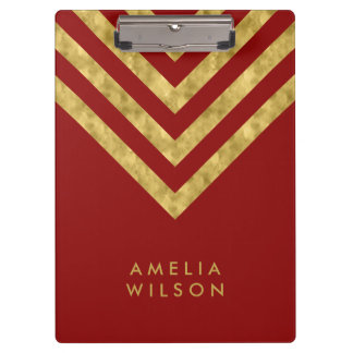 Elegant Red and Faux Gold Chevron Name Clipboard