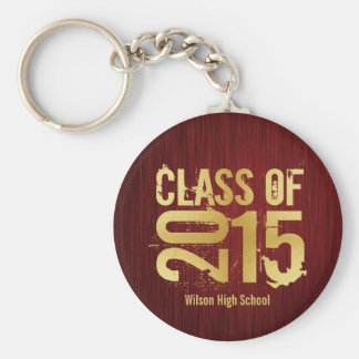 Elegant Red and Gold Class of 2015 Graduation Basic Round Button Key Ring