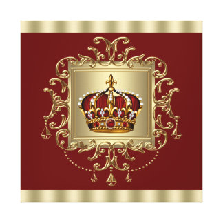 Elegant Red and Gold Crown Prince Gallery Wrap Canvas