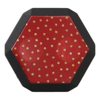 Elegant Red And Gold Foil Confetti Dots Pattern Black Bluetooth Speaker
