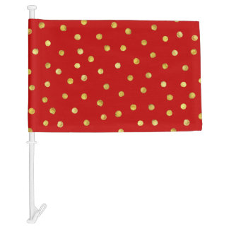 Elegant Red And Gold Foil Confetti Dots Pattern Car Flag