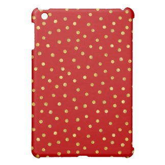 Elegant Red And Gold Foil Confetti Dots Pattern Case For The iPad Mini