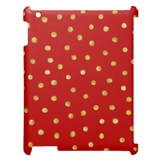 Elegant Red And Gold Foil Confetti Dots Pattern Cover For The iPad