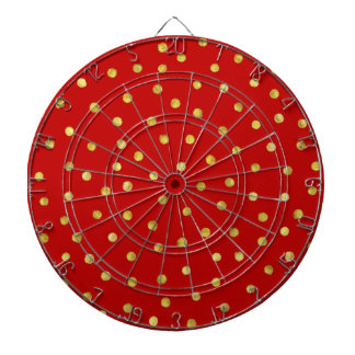 Elegant Red And Gold Foil Confetti Dots Pattern Dartboard