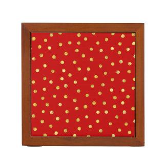 Elegant Red And Gold Foil Confetti Dots Pattern Desk Organiser