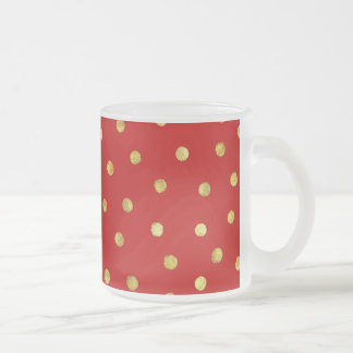 Elegant Red And Gold Foil Confetti Dots Pattern Frosted Glass Coffee Mug
