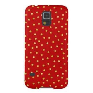 Elegant Red And Gold Foil Confetti Dots Pattern Galaxy S5 Cases